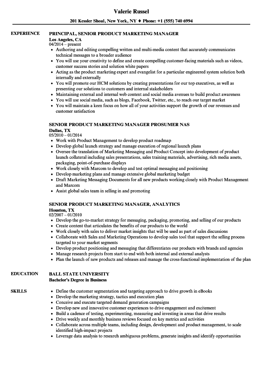 senior product  u0026 marketing manager resume samples