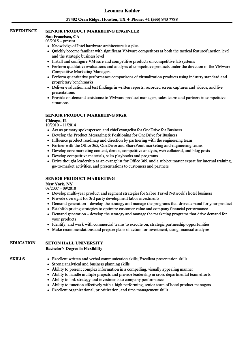 Senior Product Marketing Resume Samples | Velvet Jobs