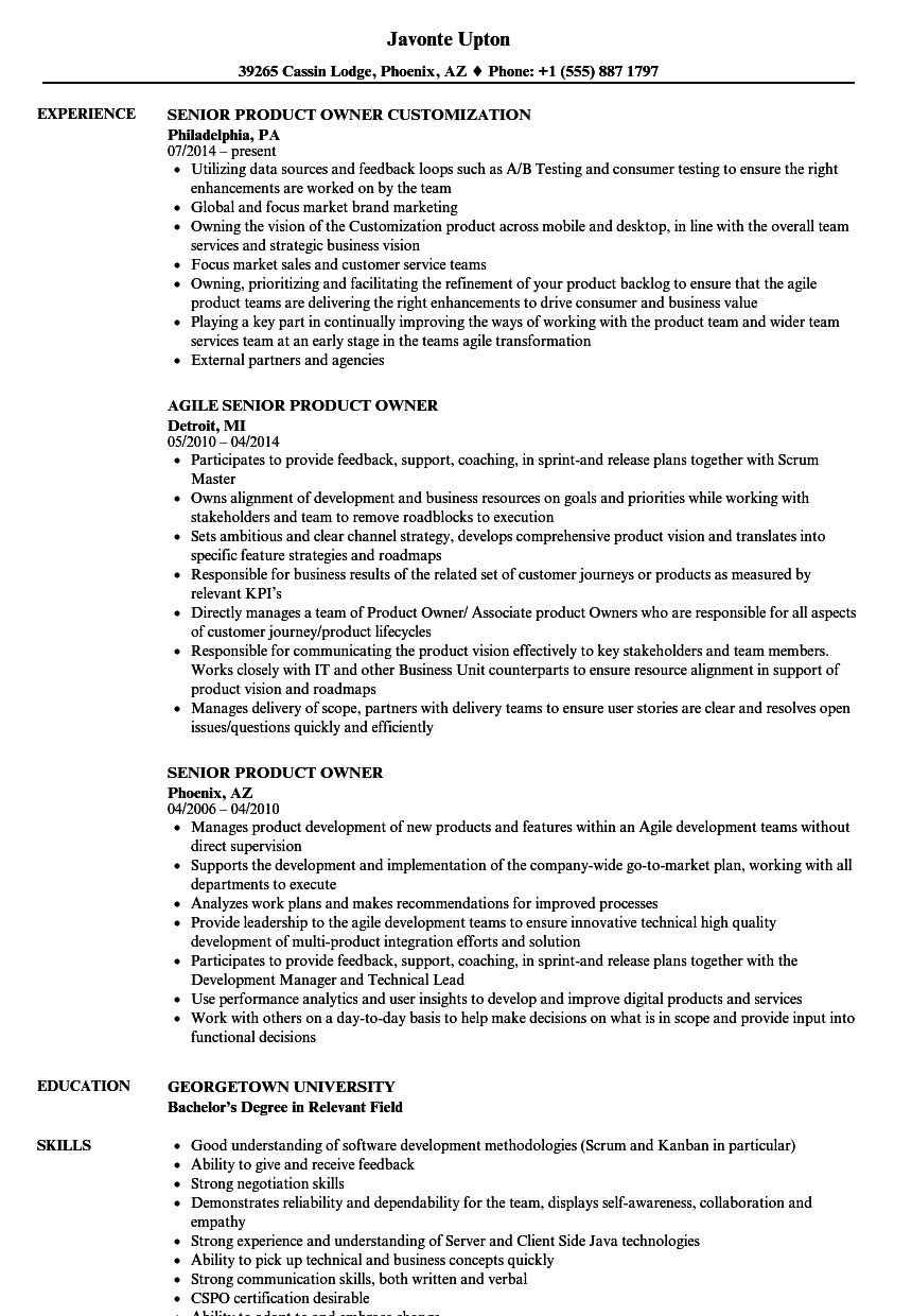 senior product owner resume samples velvet jobs