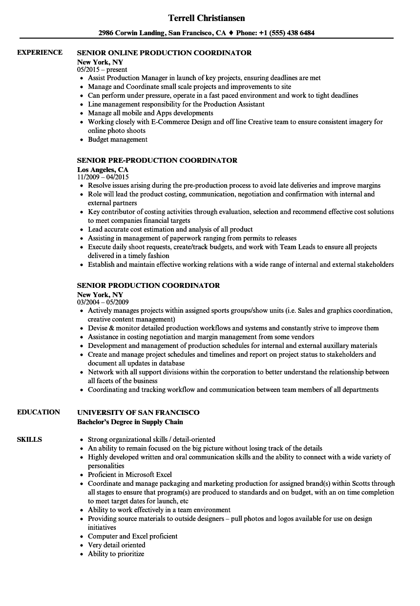 senior production coordinator resume samples