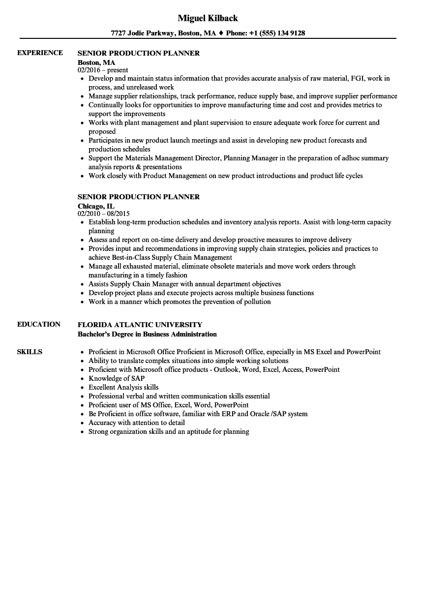 senior production planner resume samples