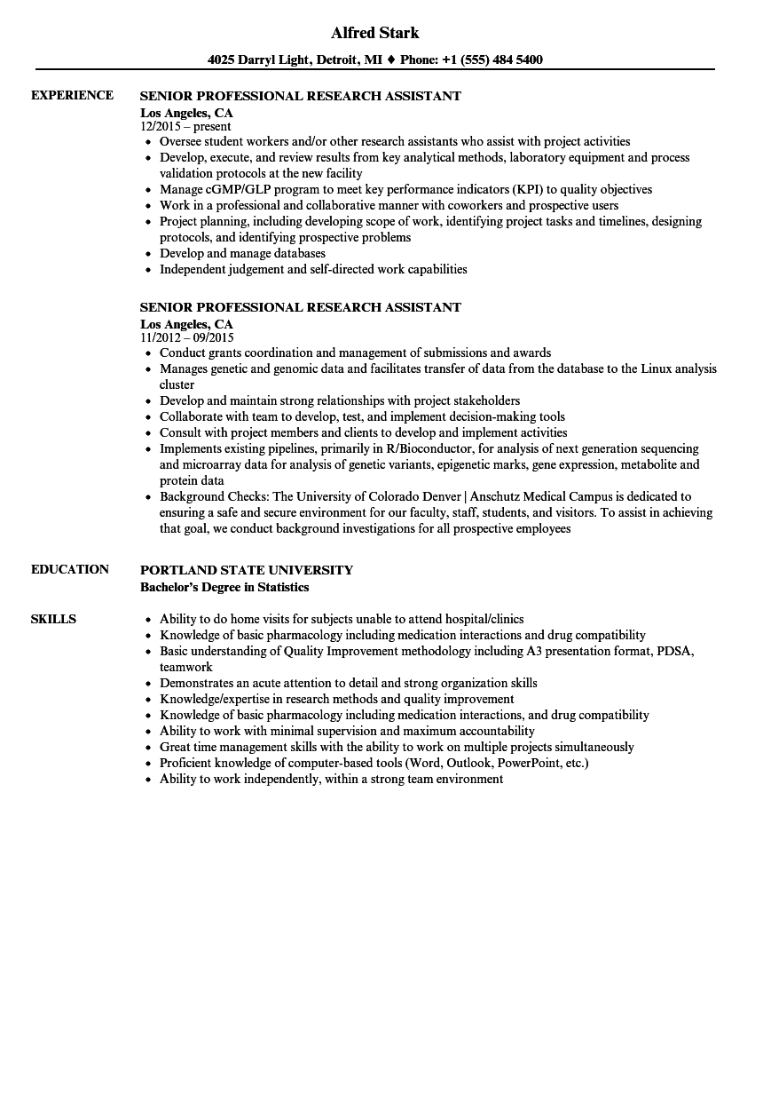 senior professional research assistant resume samples