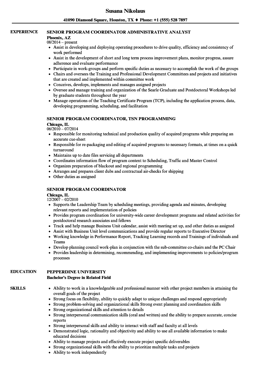 resume samples program coordinator