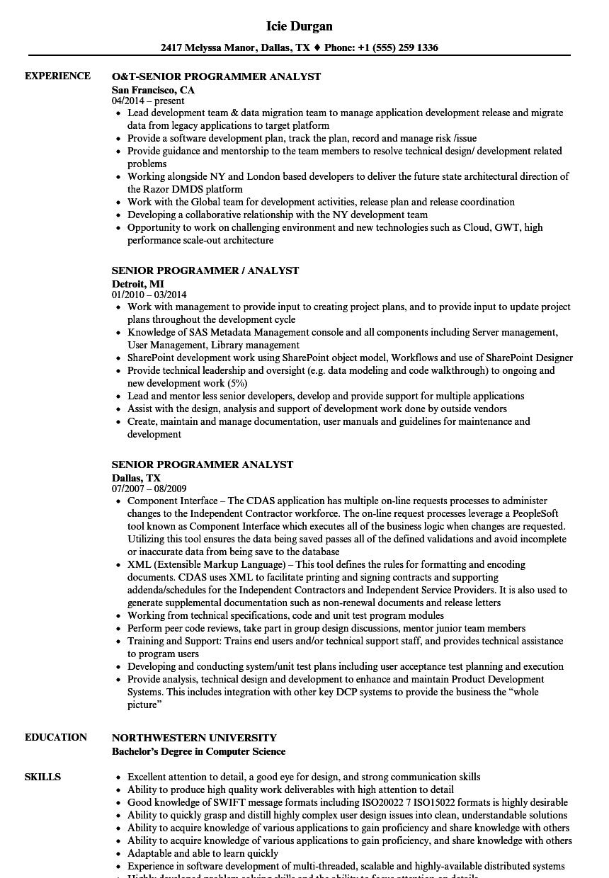 senior programmer analyst resume samples