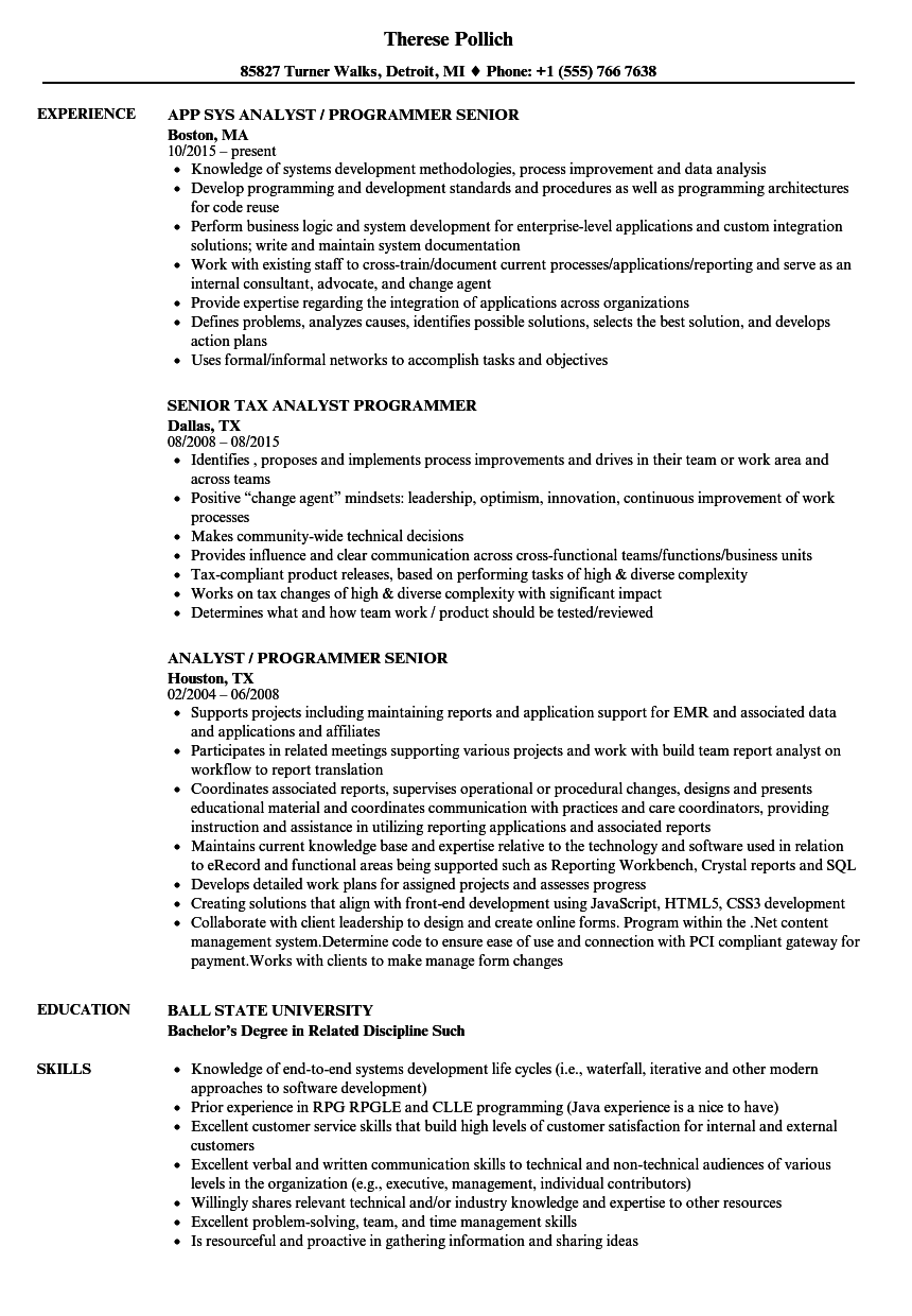 senior programmer analyst senior resume samples