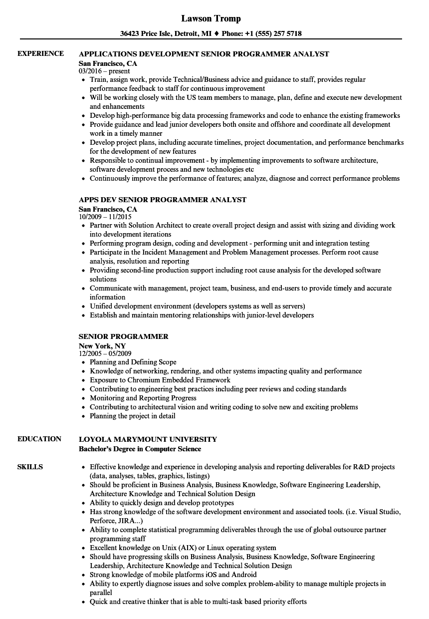 Senior Programmer Resume Samples | Velvet Jobs