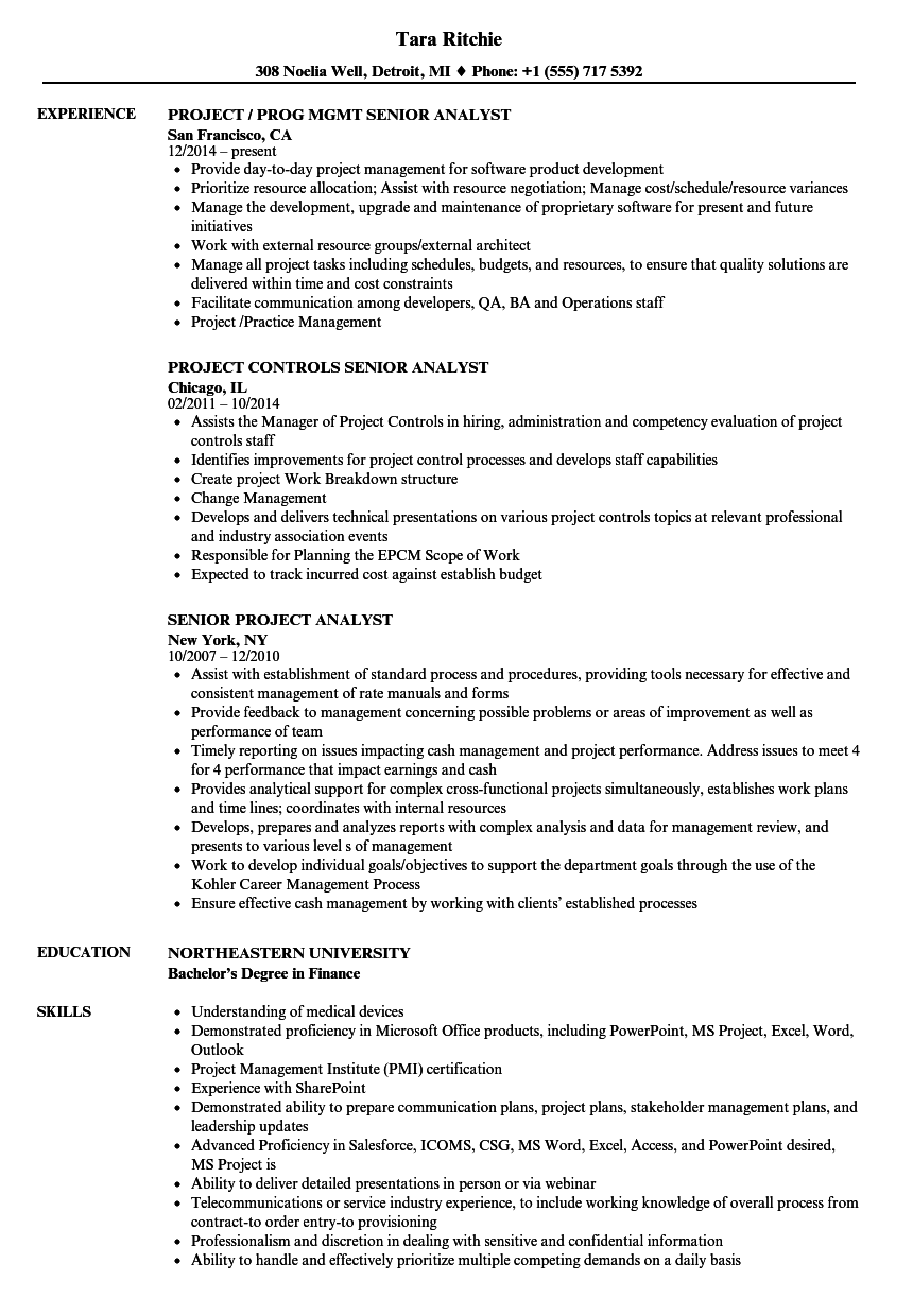 Senior Project Analyst Resume Samples Velvet Jobs