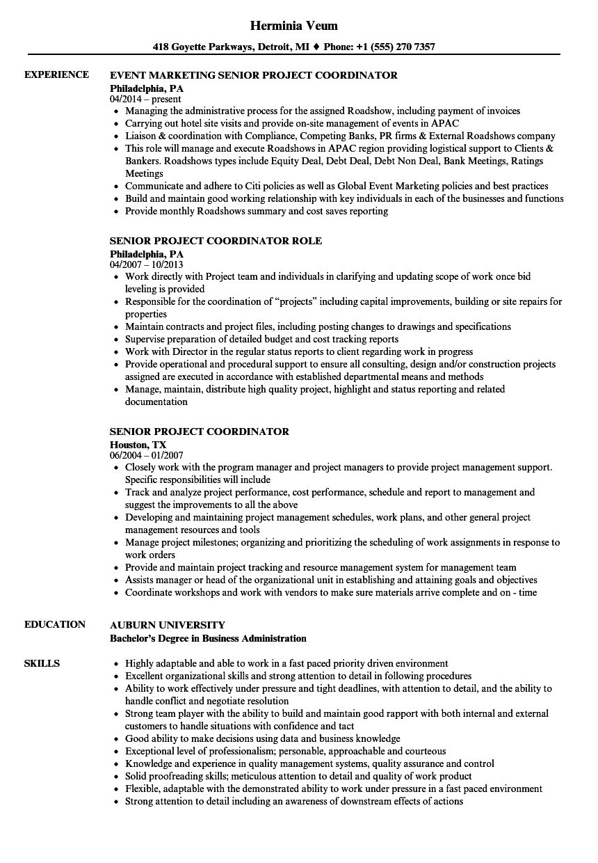 Senior Project Coordinator Resume Samples | Velvet Jobs
