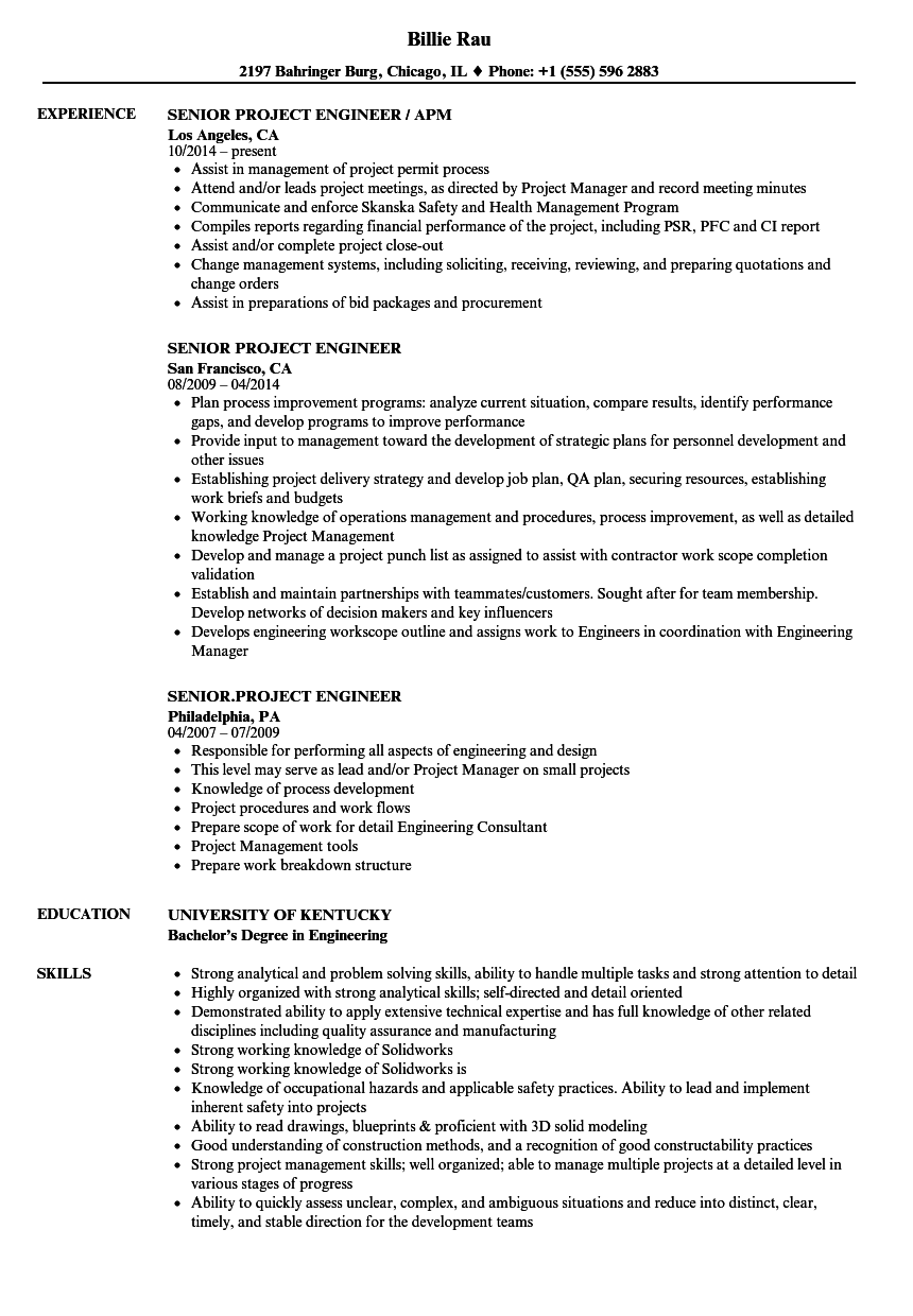 Senior Project Engineer Resume Samples | Velvet Jobs