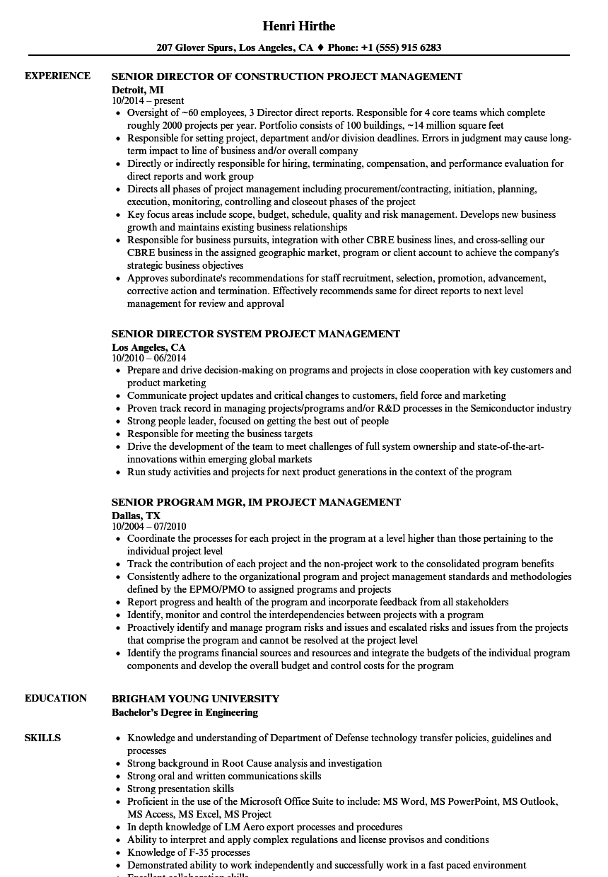 Download Senior Project Management Resume Sample As Image File  Pmp Resume Sample