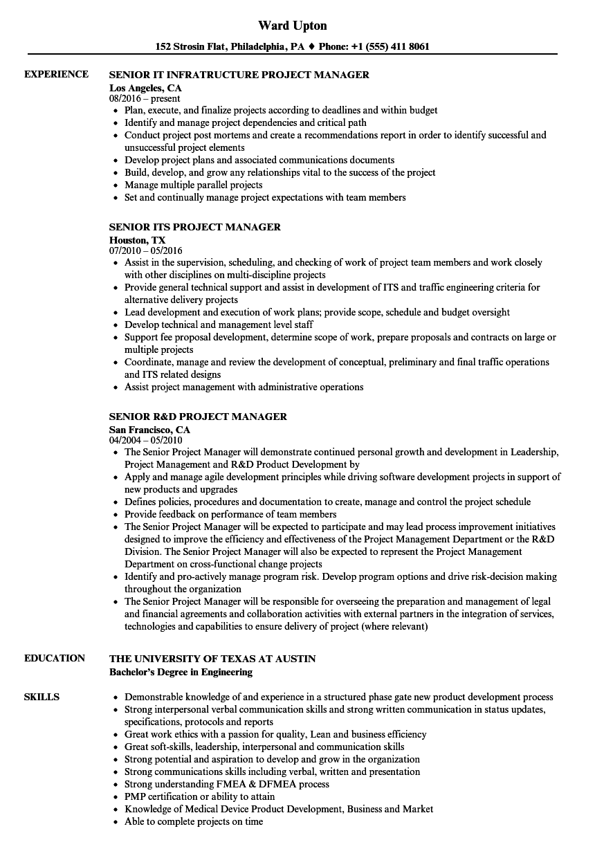 Senior Project Manager Manager Resume Samples | Velvet Jobs
