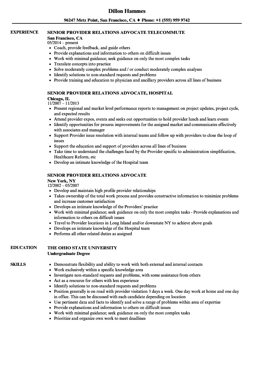 senior provider relations advocate resume samples