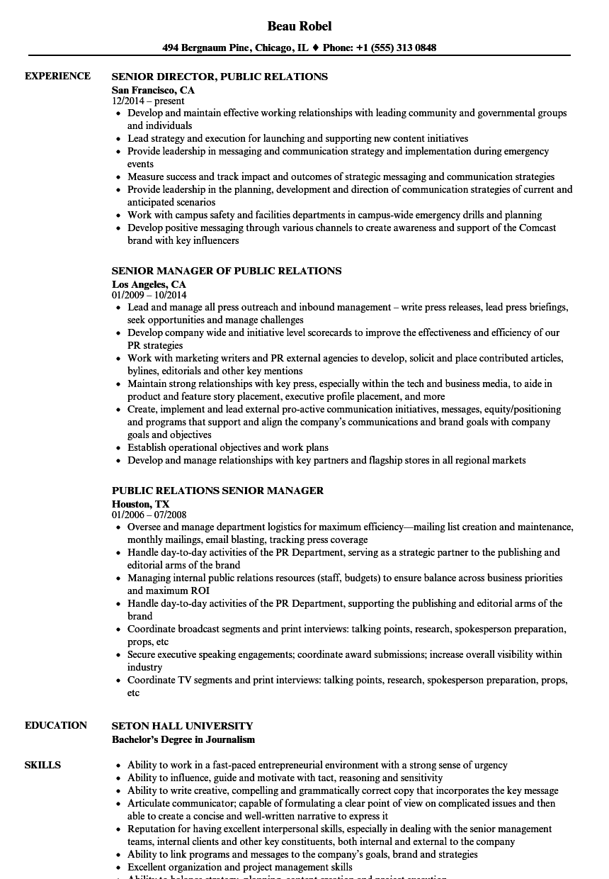 Download Senior Public Relations Resume Sample As Image File