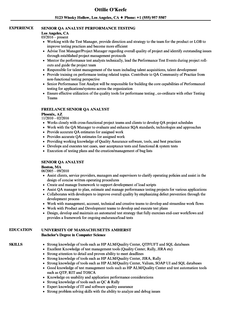 senior qa analyst resume samples