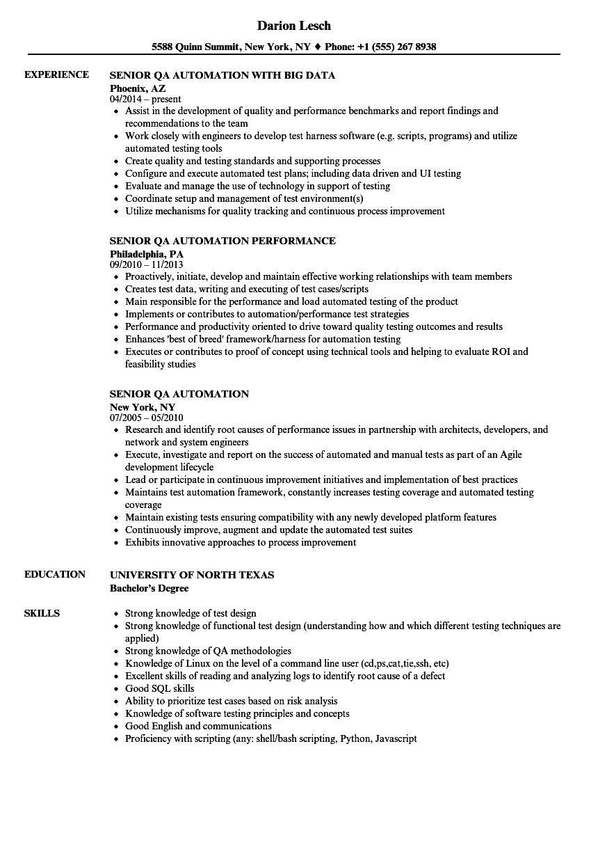 senior qa automation resume samples velvet jobs