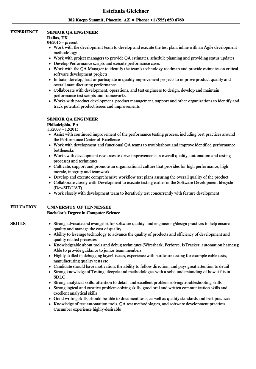 Senior QA Engineer Resume Samples | Velvet Jobs