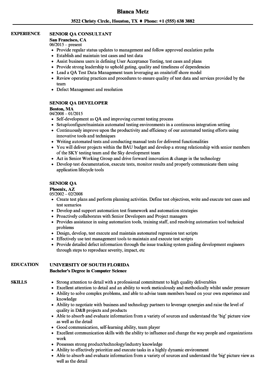 Senior QA Resume Samples | Velvet Jobs