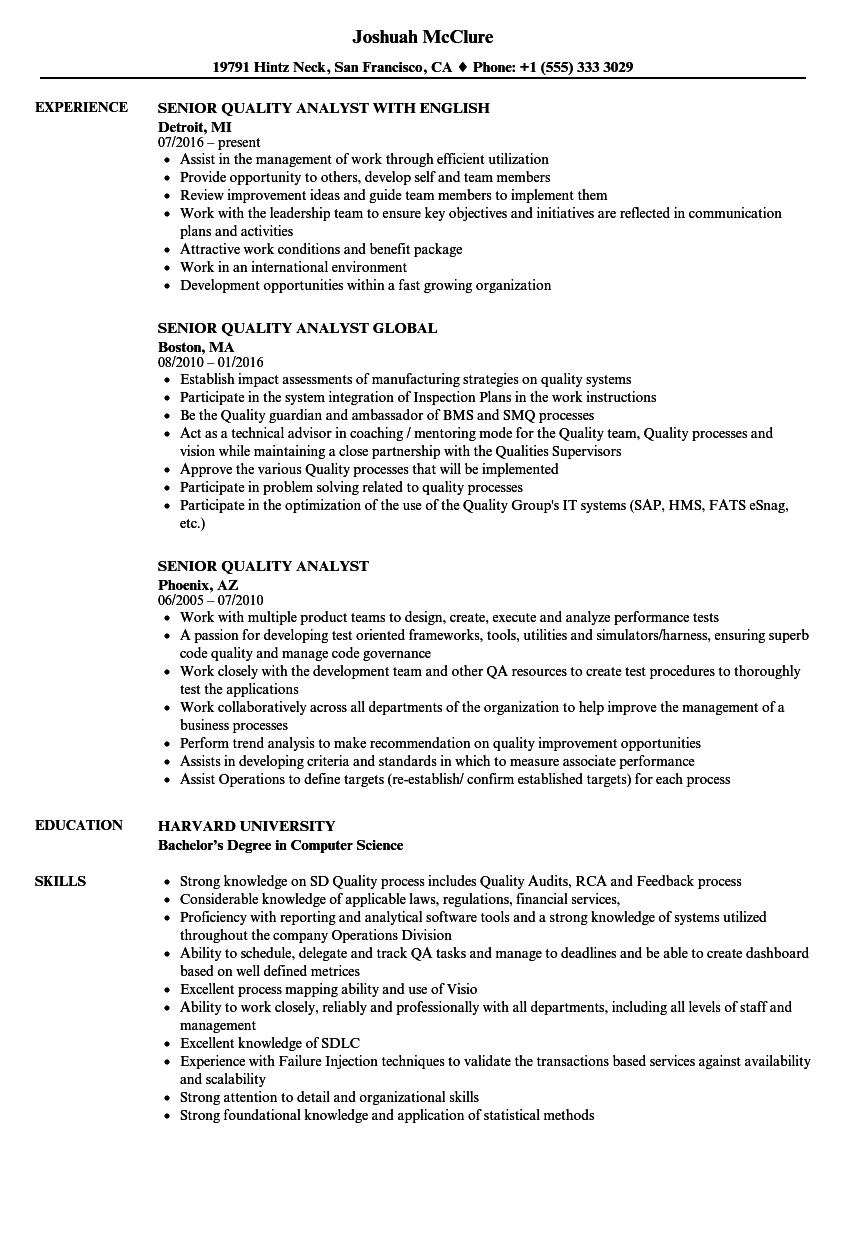 Senior Quality Analyst Resume Samples Velvet Jobs