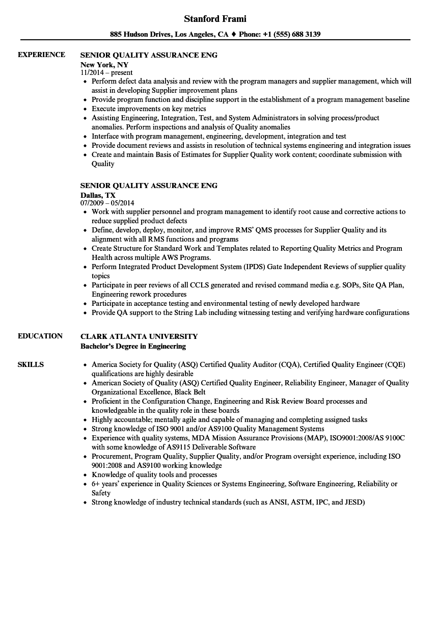 senior quality assurance eng resume samples