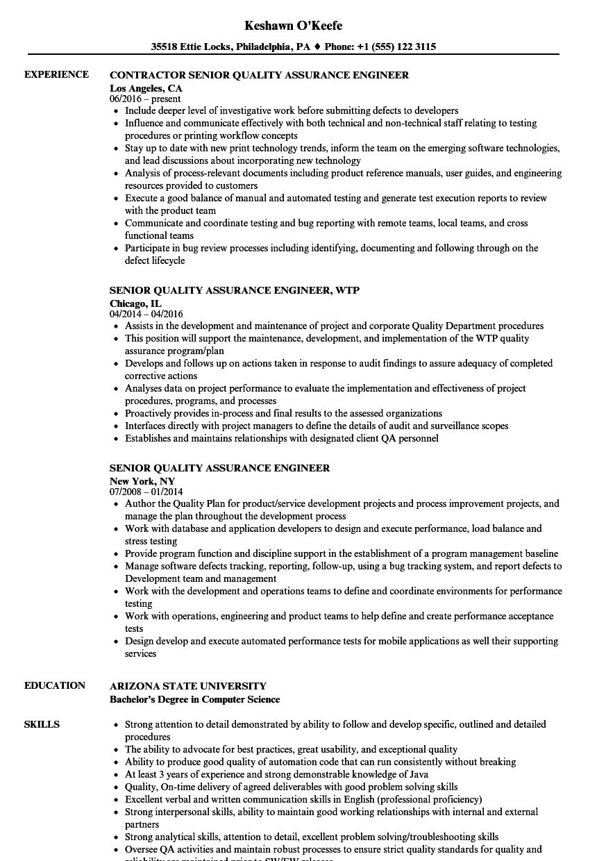 Senior Quality Assurance Engineer Resume Samples | Velvet Jobs