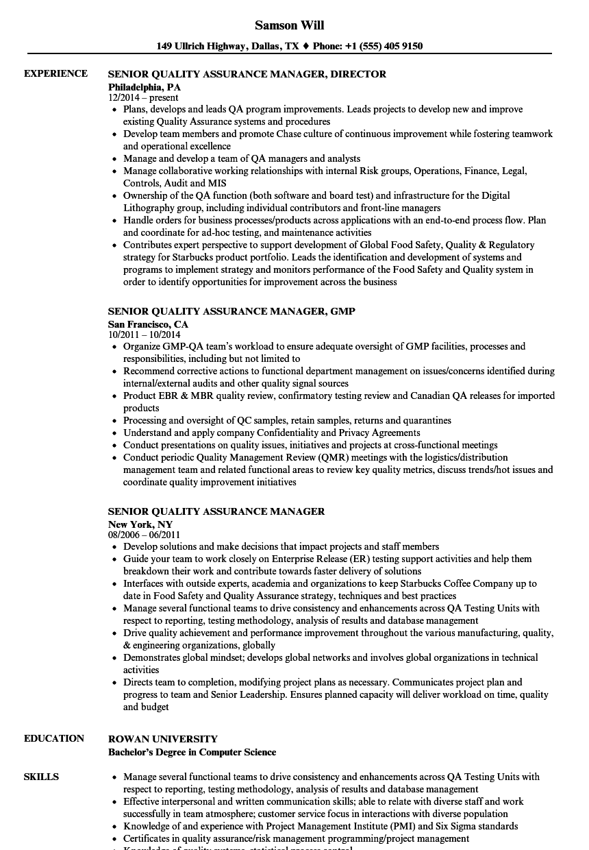 Senior Quality Assurance Manager Resume Samples | Velvet Jobs