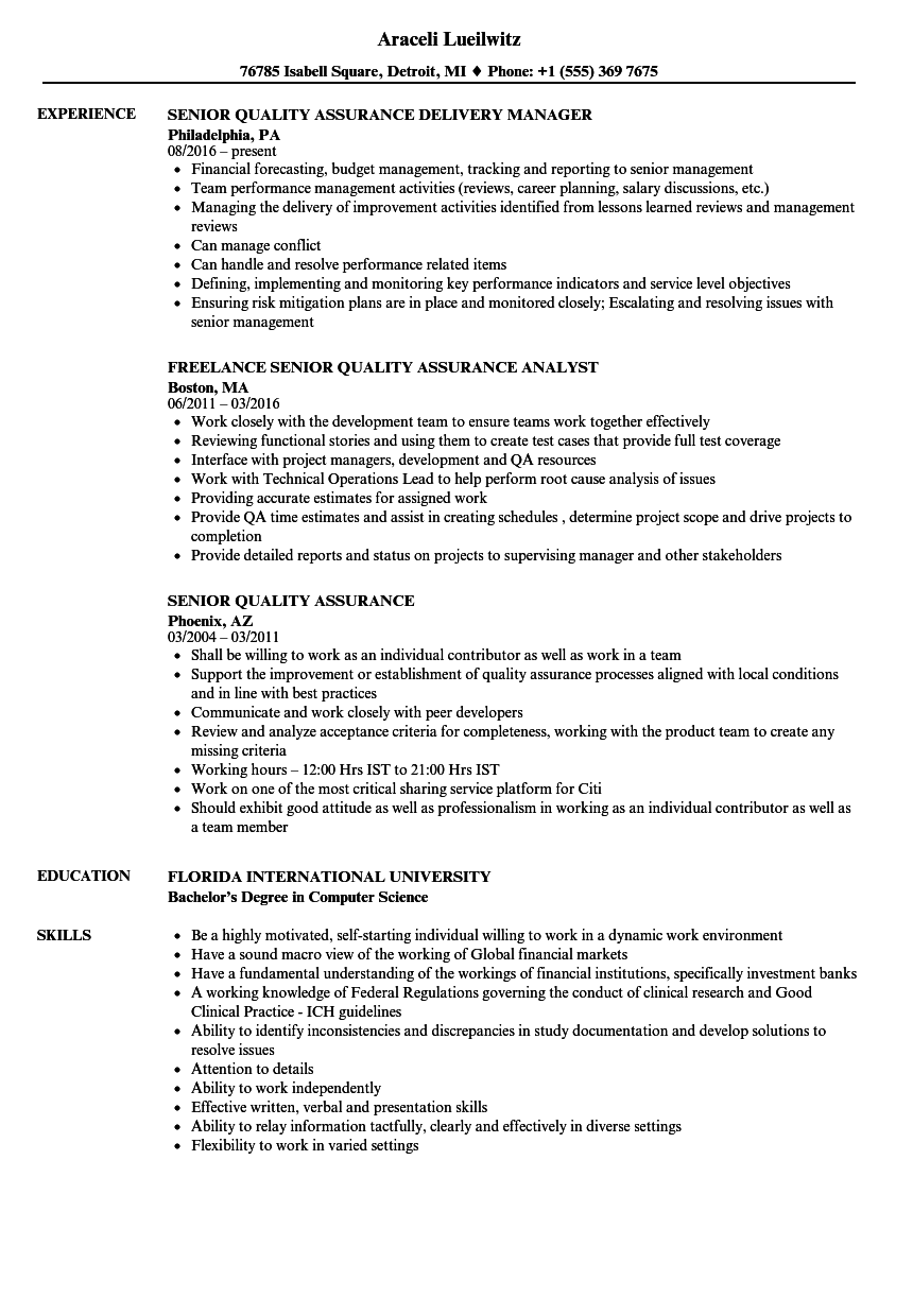 senior quality assurance resume samples velvet jobs