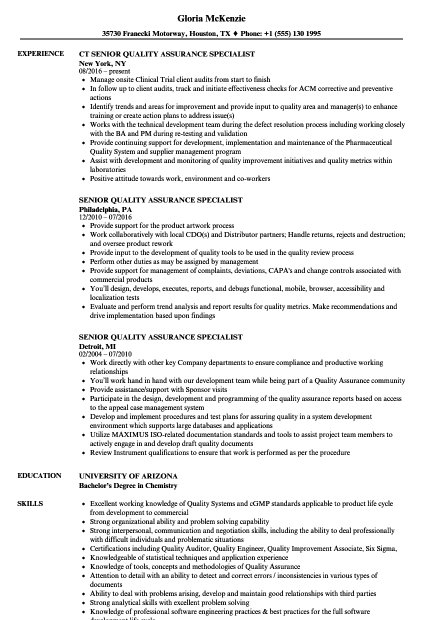 Senior Quality Assurance Specialist Resume Samples | Velvet Jobs