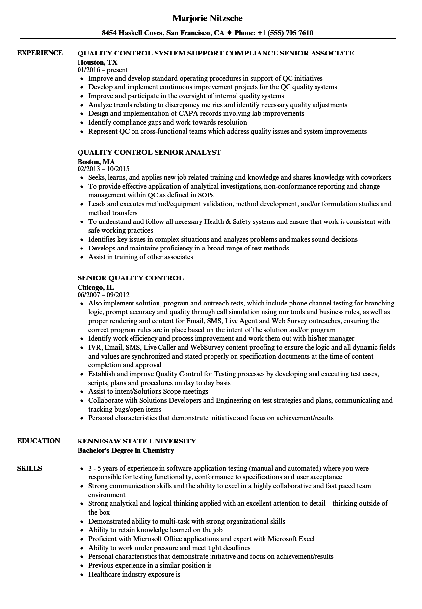Senior Quality Control Resume Samples | Velvet Jobs