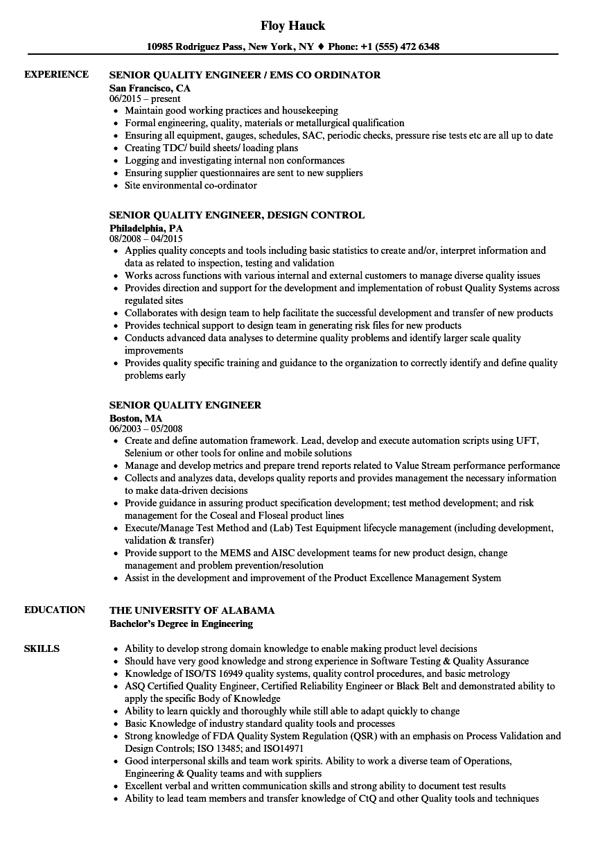 Senior Quality Engineer Resume Samples Velvet Jobs