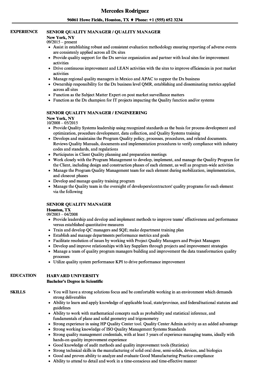 senior quality manager resume samples