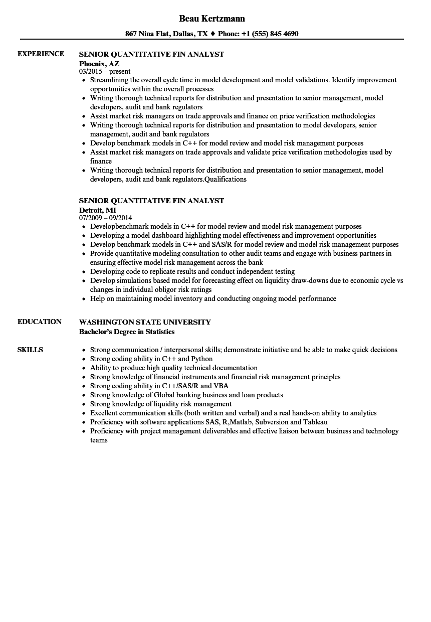 senior quantitative fin analyst resume samples