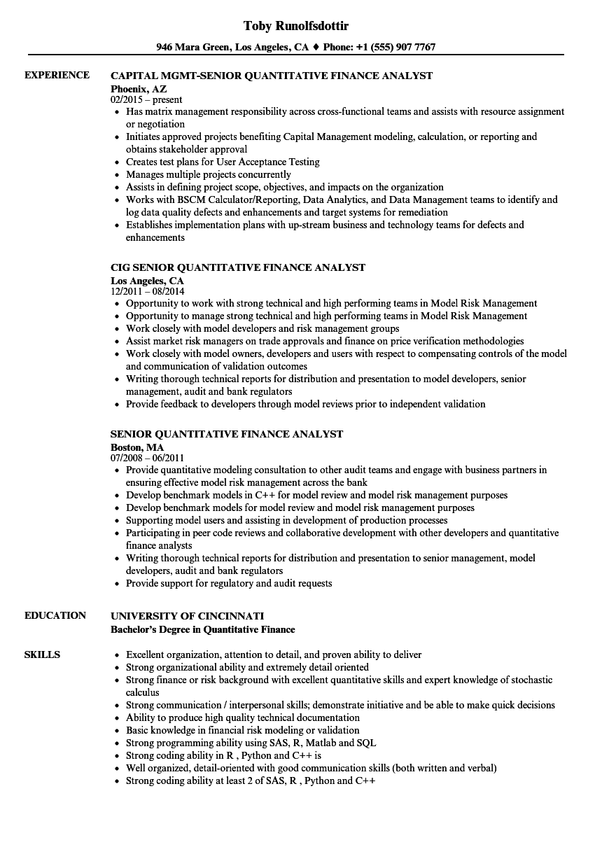 Senior Quantitative Finance Analyst Resume Samples | Velvet Jobs