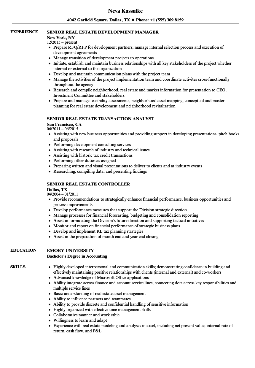 Senior Real Estate Resume Samples