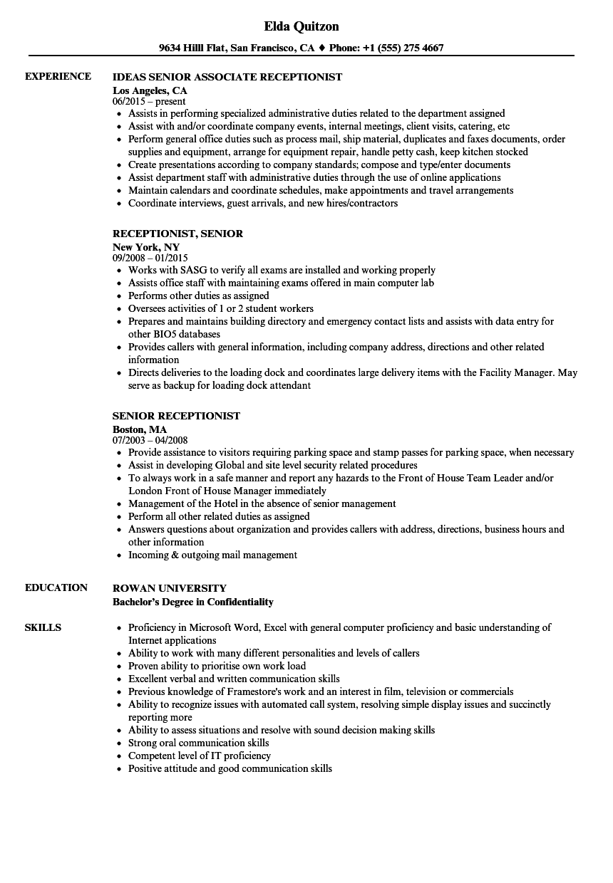 Senior Receptionist Resume Samples Velvet Jobs