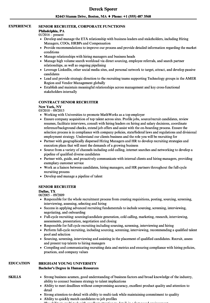 Senior Recruiter Resume Samples | Velvet Jobs