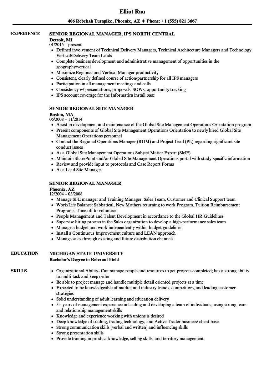 senior regional resume samples