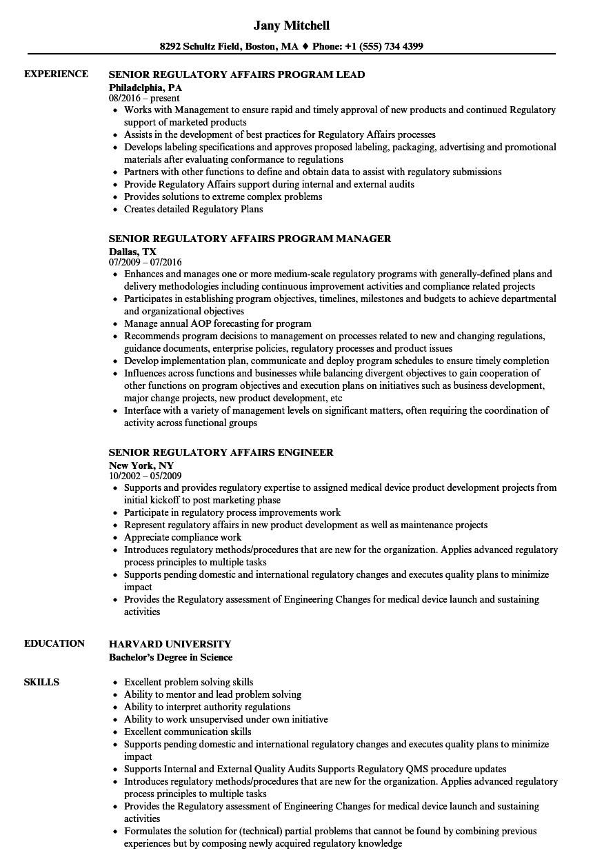Regulatory affairs resume home for Pharmaceutical regulatory affairs resume sample