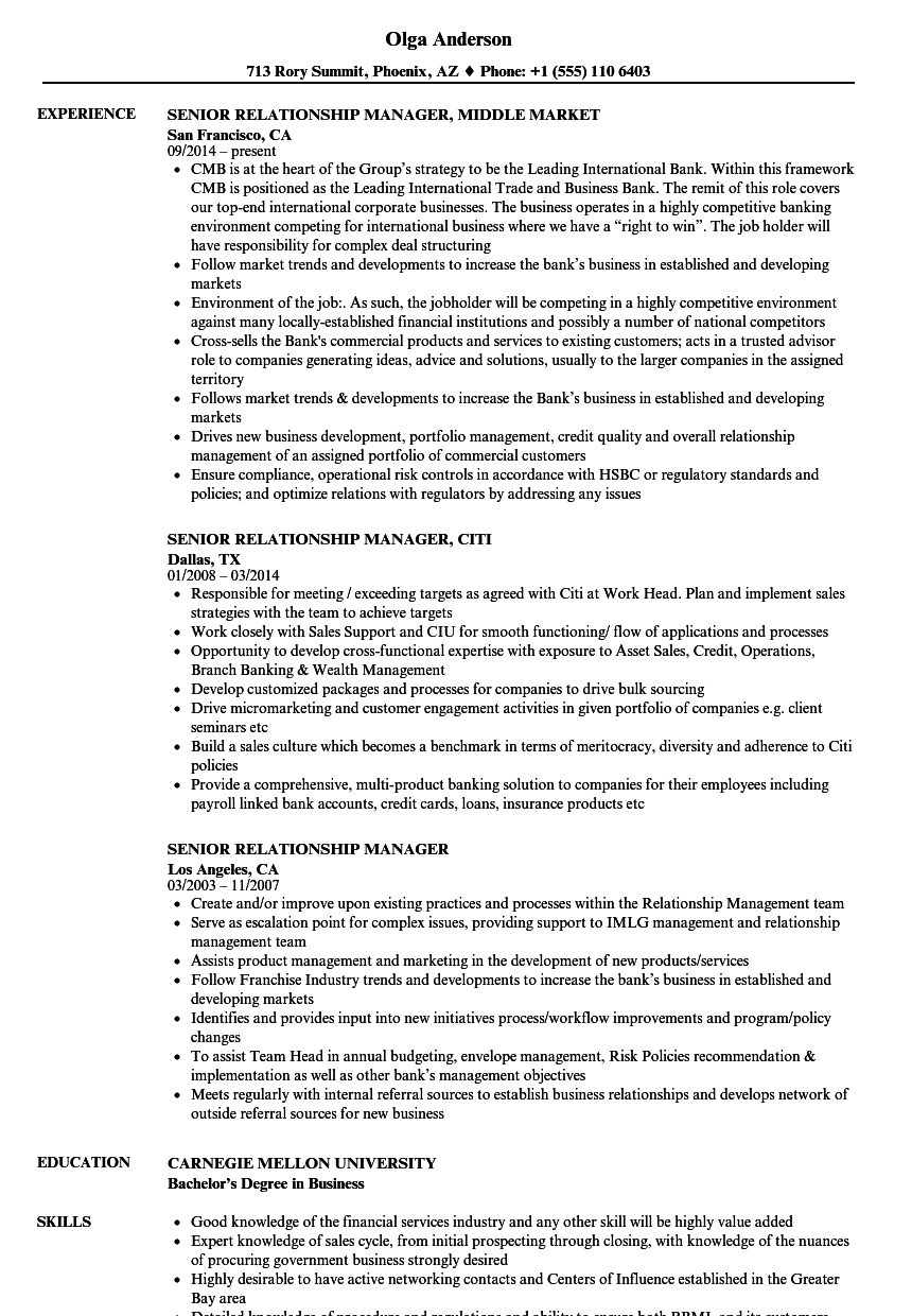 senior relationship manager resume samples