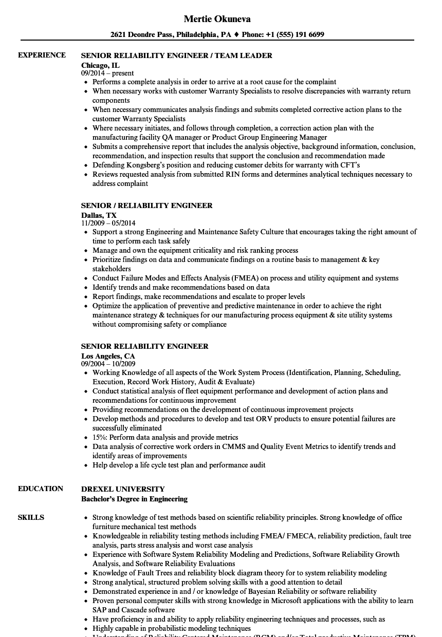 senior reliability engineer resume samples
