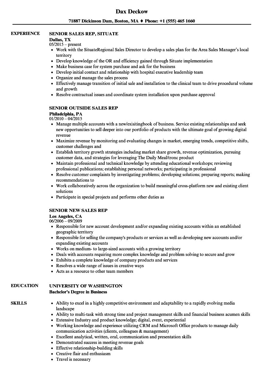 download senior rep sales resume sample as image file - Sample Outside Sales Resume