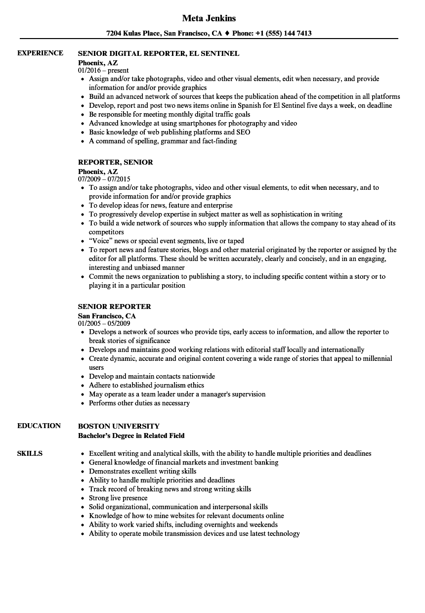 Senior Reporter Resume Samples | Velvet Jobs