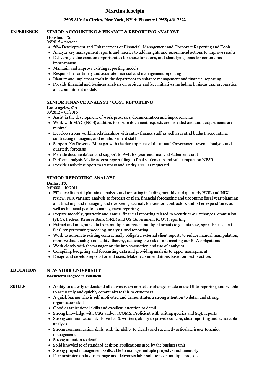 Senior Reporting Analyst Resume Samples | Velvet Jobs