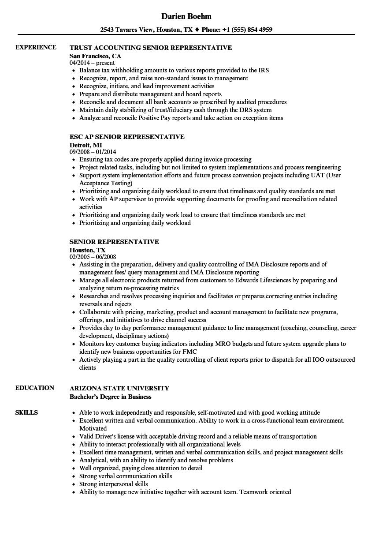 Senior Representative Resume Samples   Velvet Jobs