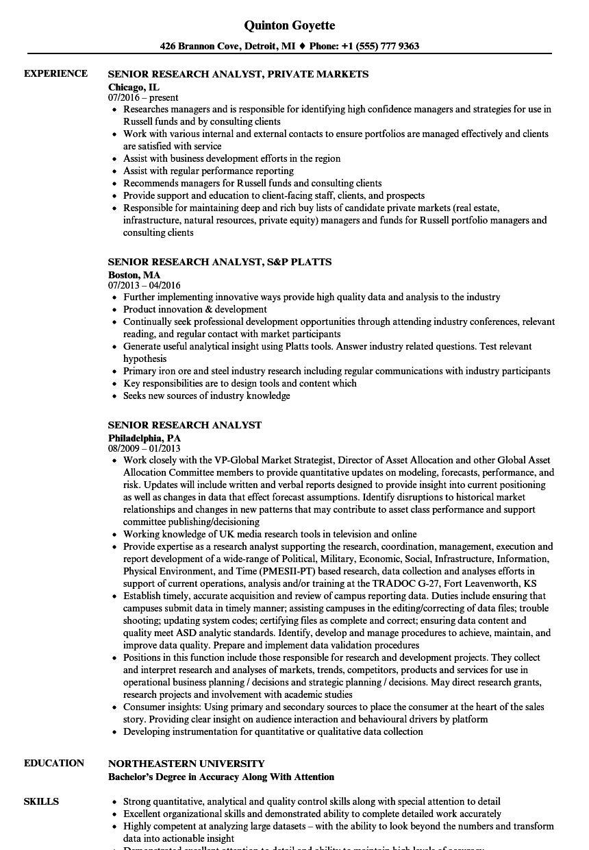 Senior Research Analyst Resume Samples | Velvet Jobs