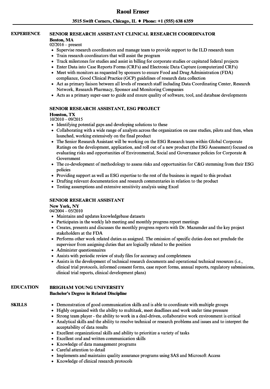 senior research assistant resume samples