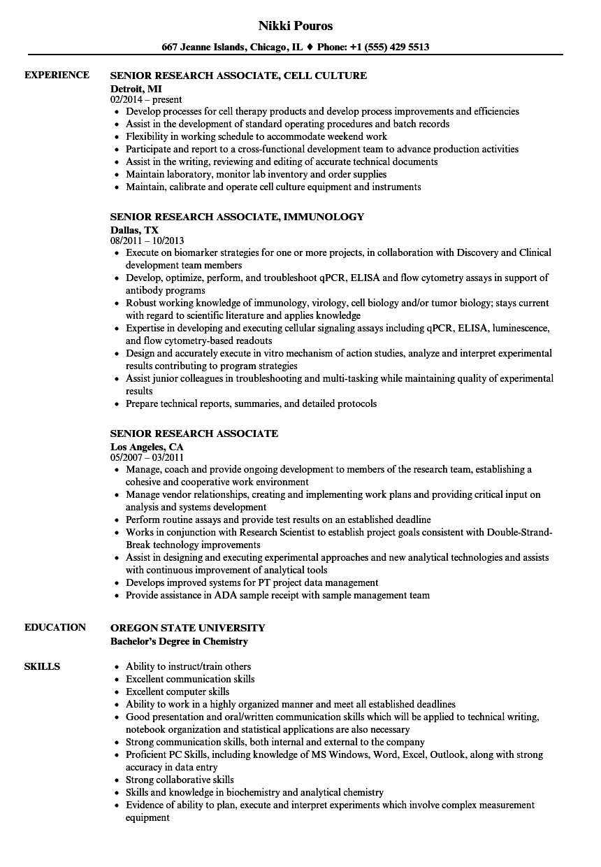 research associate resume sample