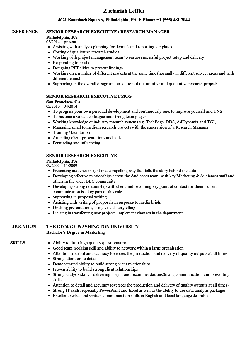 Senior Research Executive Resume Samples | Velvet Jobs
