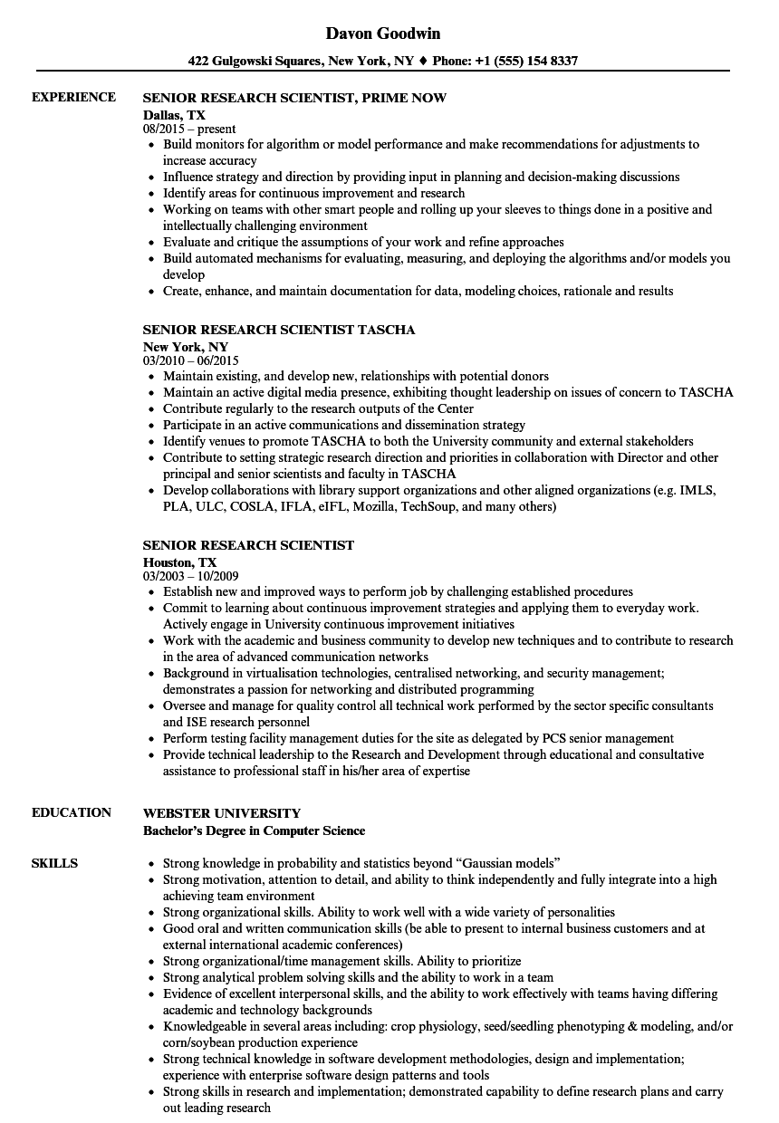 senior research scientist resume samples