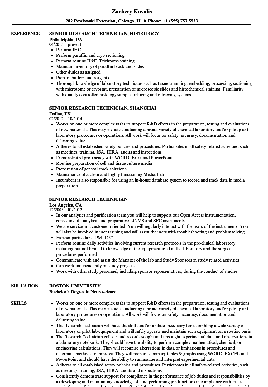 Download Senior Research Technician Resume Sample As Image File