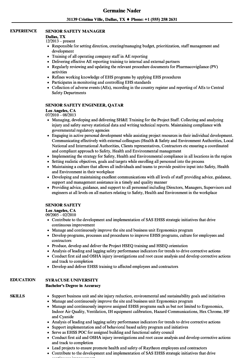 senior safety resume samples